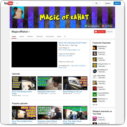 https://www.youtube.com/user/MagicofRahat/