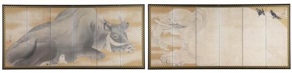 白象黒牛図屏風